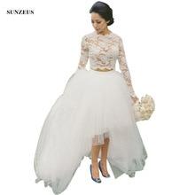Long Sleeve High Neck Weddingdress Appliques Crop Top High Low Tulle Skirt Two Piece Wedding Gowns Women Bridal Dress SAU238