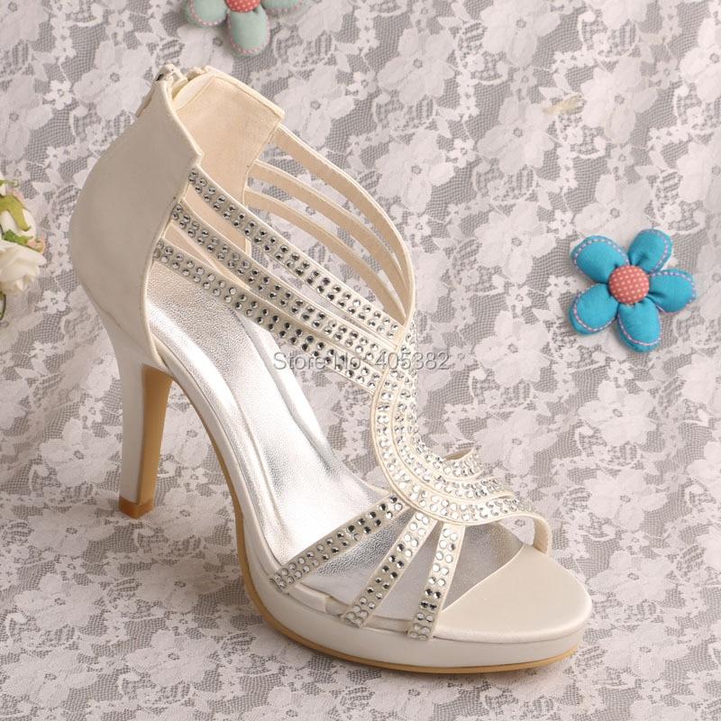 ФОТО Wedopus MW581 Wholesale Name Brand Custom European Wedding Shoes Sandals Off white Satin