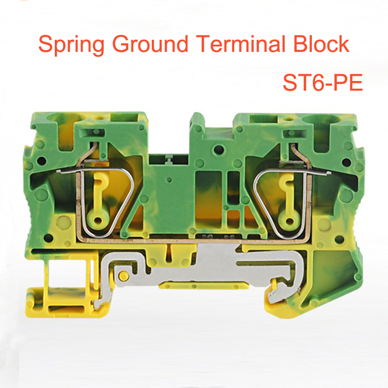 50pcs Spring Ground Terminal Blocks ST6-PE din rail yellow green earthing terminals block wire cable grounding connector 6mm2 50pcs uk5 twin uk5rd 4mm2 din rail screw clamp fuse terminal blocks connector