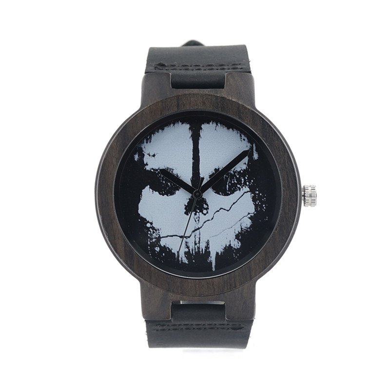 Black Wood Watch For Men And Women Round Wristwatch Brand Casual Gift Clock With Paper Box