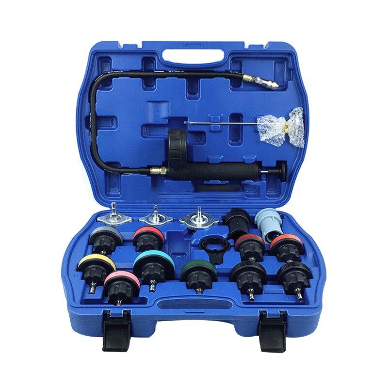 Détecteur de fuite de réservoir d'eau de 18 pièces outil de détection de réservoir d'eau de voiture dispositif de remplissage de remplacement de refroidissement antigel avec gaug de pression