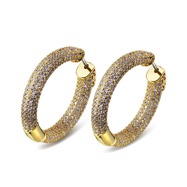 32MM Hoop Earring Christmas gift earrings for women gold plated with white CZ wedding earring charm jewerly Free shipment