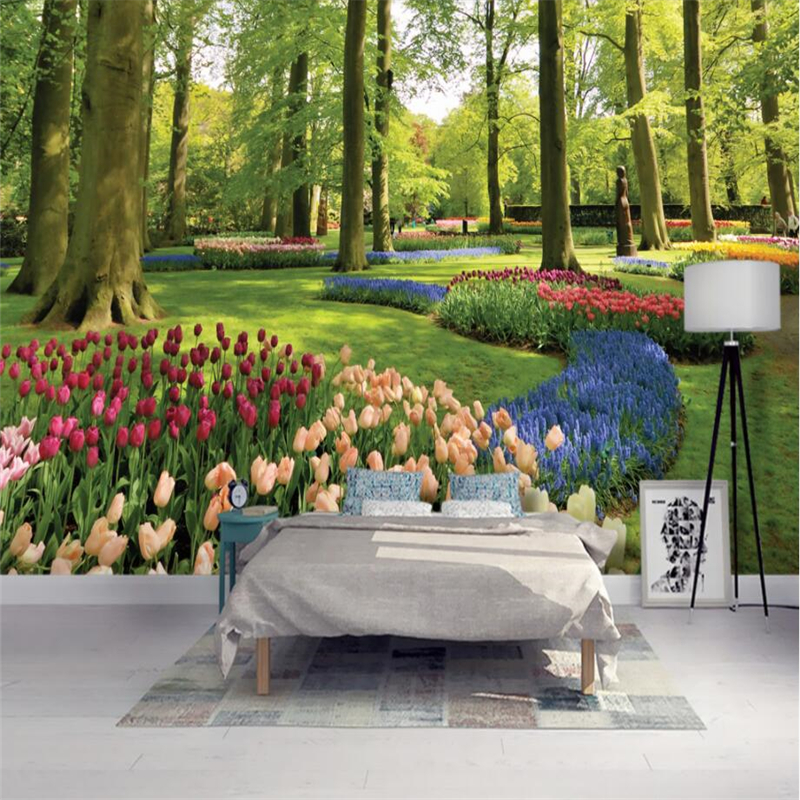 beibehang Custom 3d wall paper murals bedroom living room fashion park landscape woods flowers tulips wallpaper home decoration the custom 3d murals parks sunrises and sunsets trees heart grass nature wallpapers living room sofa tv wall bedroom wall paper