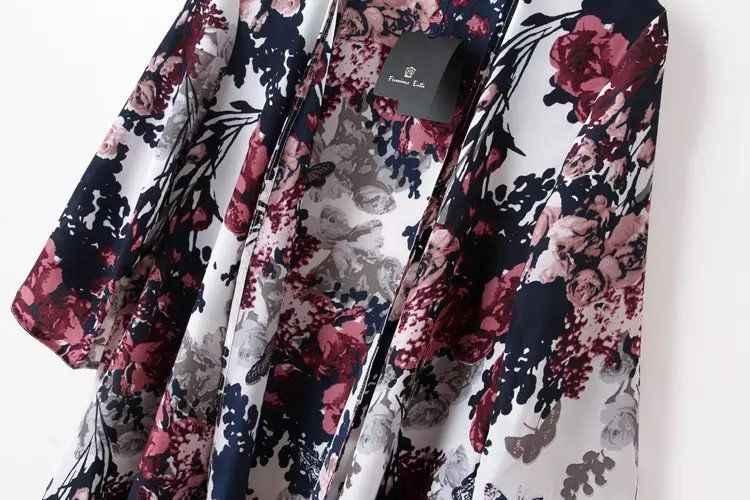 Donne di estate 3/4 Del Manicotto Casual Camicette Stampa Floreale Kimono Allentato Casual Cappotto Chiffon Cardigan Allentato Magliette e camicette In Chiffon Camicetta