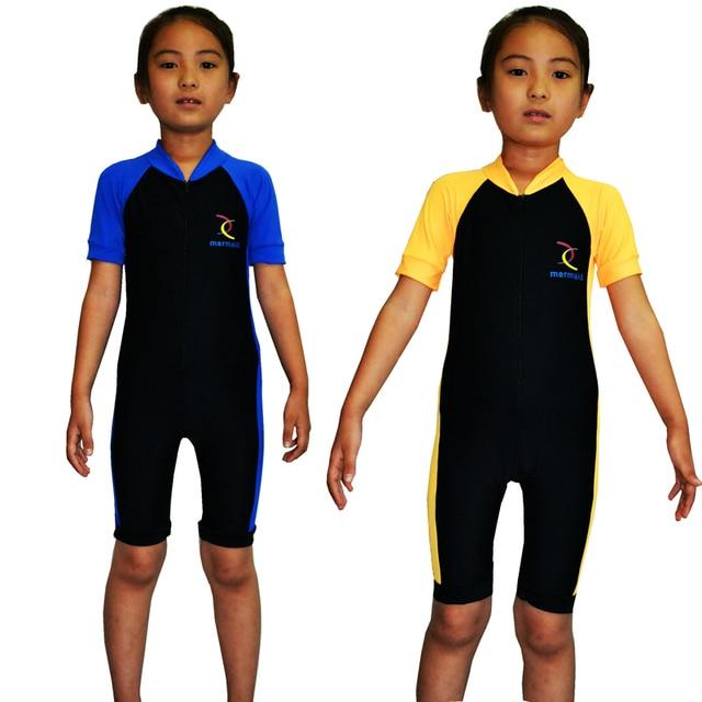 Niños lycra ( nylon + spandex ) buceo trajes de baño surf trajes de  neopreno rash bffaef68e25