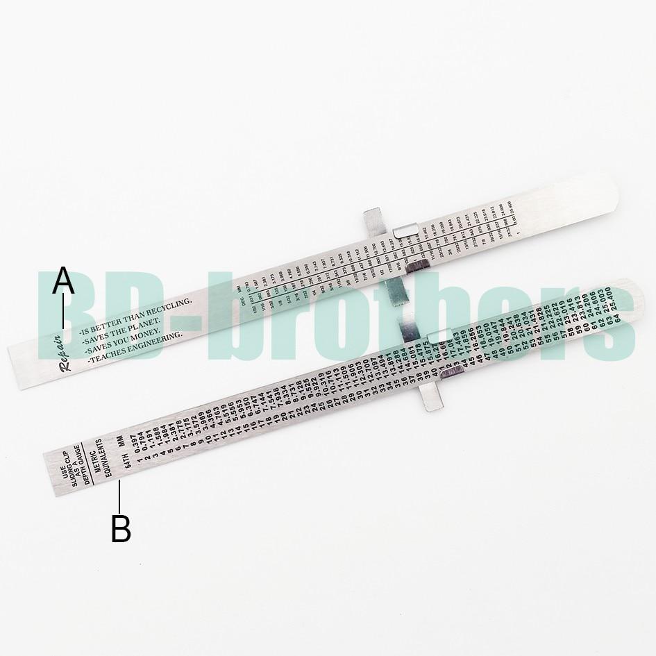15 Cm Rvs Straight Heerser Metalen Afgestudeerd Schaal Diepte Meters