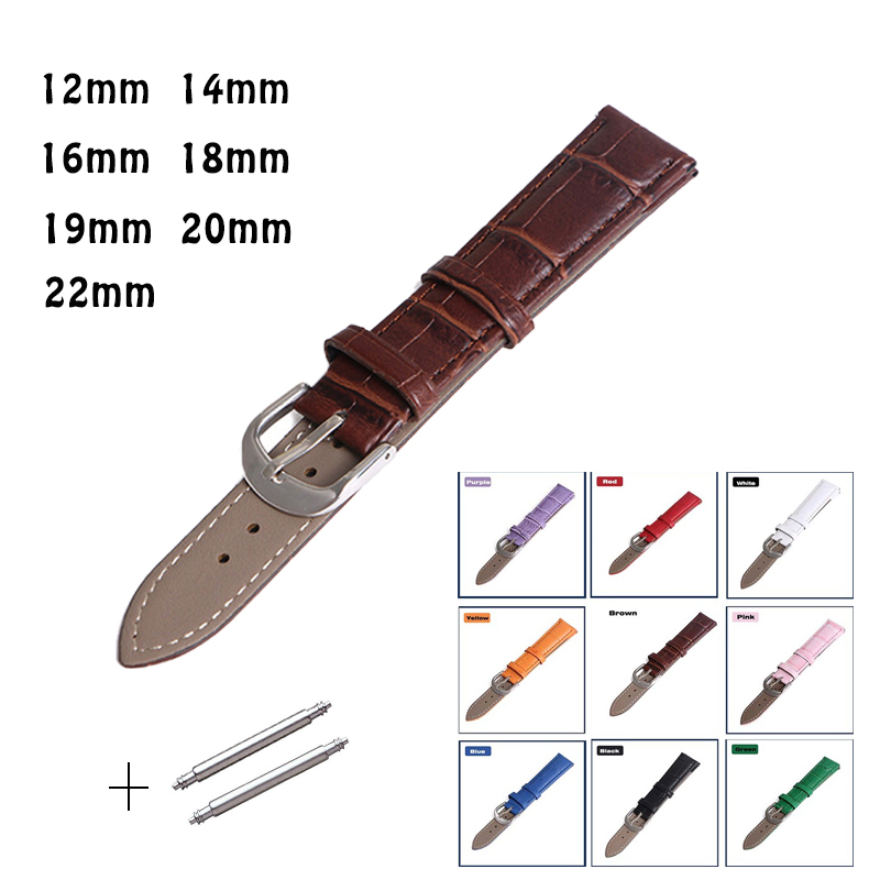 Leather Watches Band Strap 12mm 14mm 16mm 18mm 19mm 20mm 22mm Brown Pink White Green Black Blue Woman Man Watchbands Watch Belts challenger alpina 16 white pink