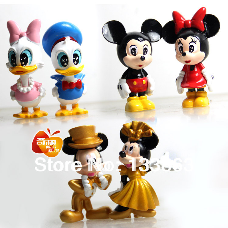 MICKEY Mouse Minnie Mouse Donald Duck Cartoon figure Set, Children's toys for kid,plastic toys,pvc figure, Free shipping