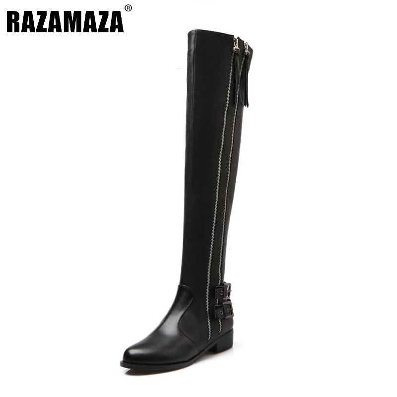 RizaBina Women Genuine Real Leather Knee Boots Winter Boots Sexy High Heel Round Toe Zipper Buckle Women Boots Shoes Size 34-39 new big size 34 42 high quality pu genuine leather boots square heel winter shoes zipper buckle women knee high boots