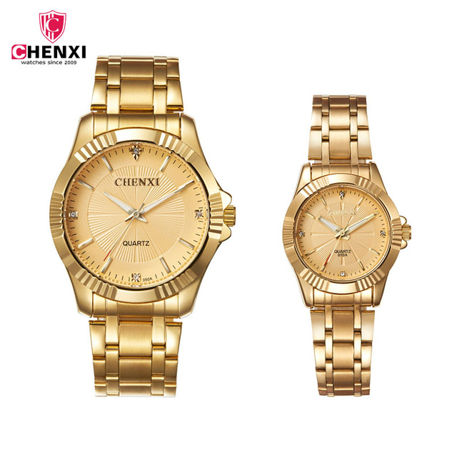CHENXI Couple Watch Men Lovers Watches Women Luxury Rhinestone Gold Stainless Steel Bracelet Quartz Wristwatches 1Pair Gifts 35 | Fotoflaco.net