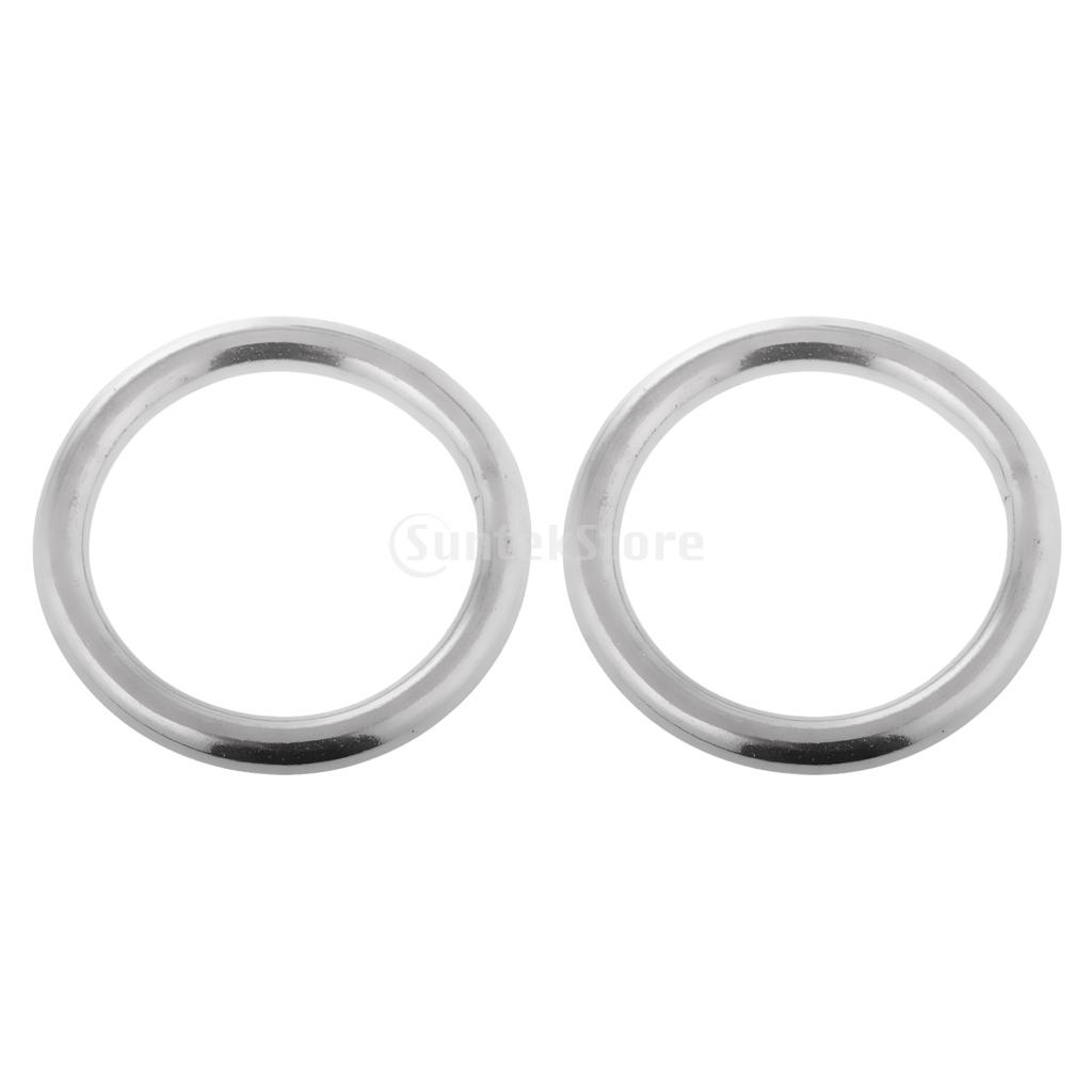 2pcs 25-60mm Dia. Smooth Welded Precision Polished 304 Stainless Steel Marine Boat Round O Ring Hammock Yoga Hanging Ring