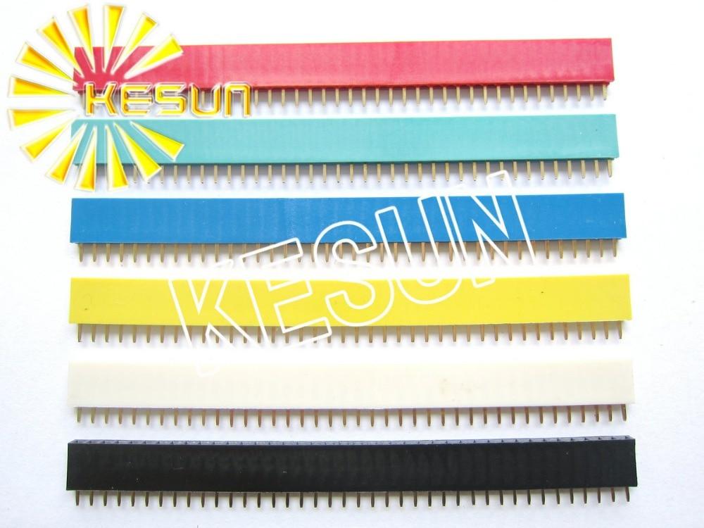 480PCS/lot Red Green Blue Yellow White Black 2.54MM 1X40 Female Pin Header Strip