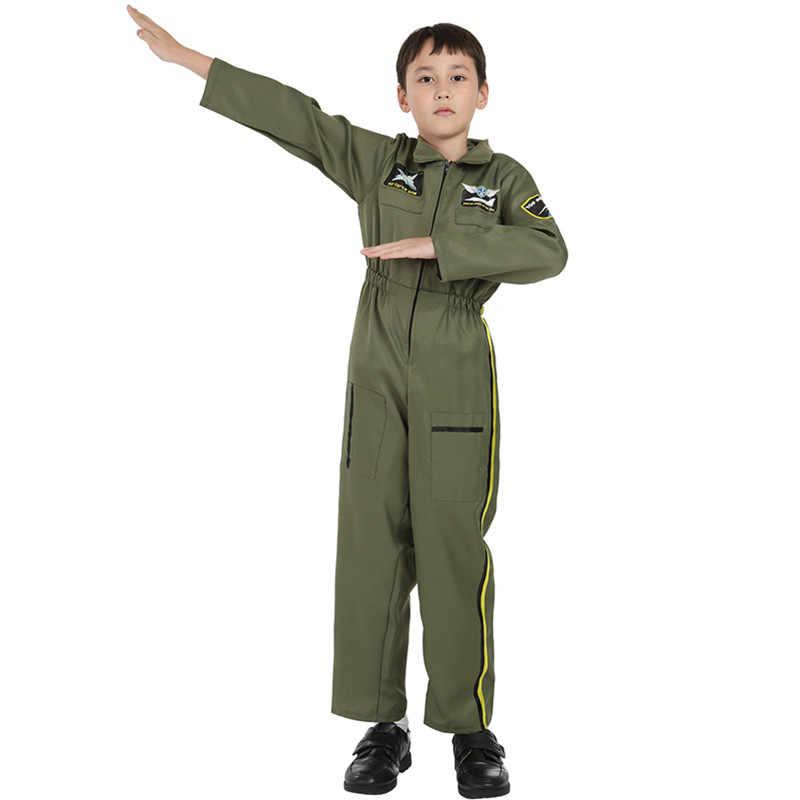 Traje de vuelo para niños vestido de piloto traje de pistola superior trajes de Fuerza Aérea uniforme traje de ArmyGreen para niño Halloween Cosplay