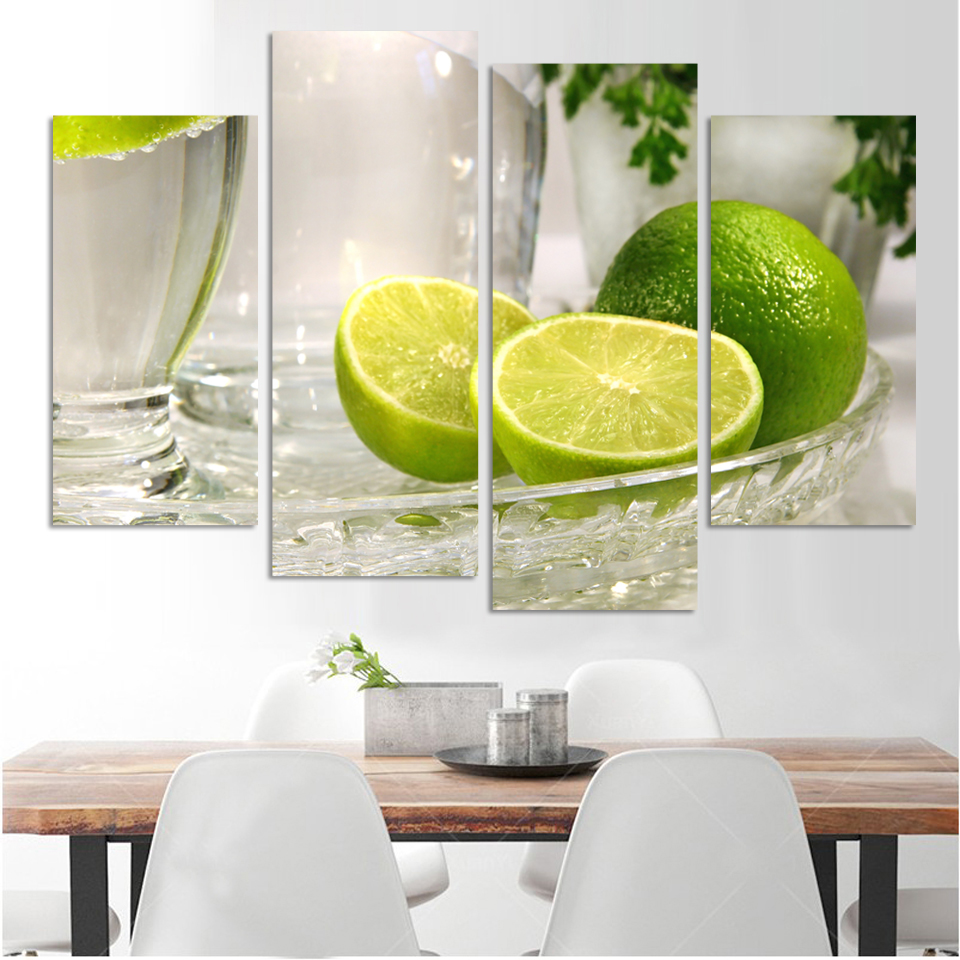 4 panels lemon fruit green canvas painting modern wall paintings for ...