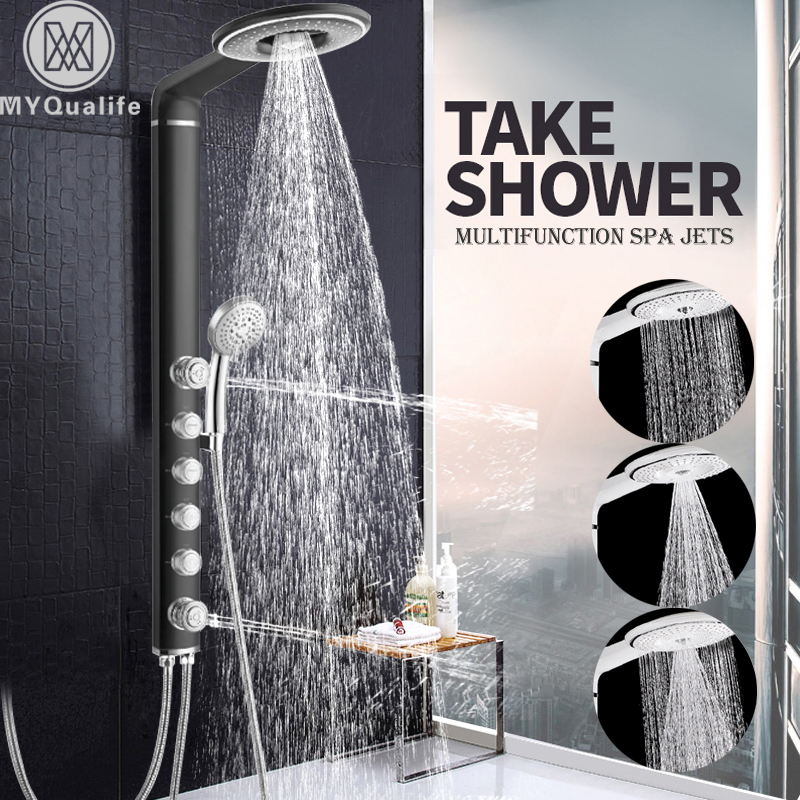 Shower Faucets Crw Bathroom Shower Faucet Waterfall Rain Shower Panel Wall Mount Massage System Faucet With Jets Hand Shower Set Tap Mixer Back To Search Resultshome Improvement