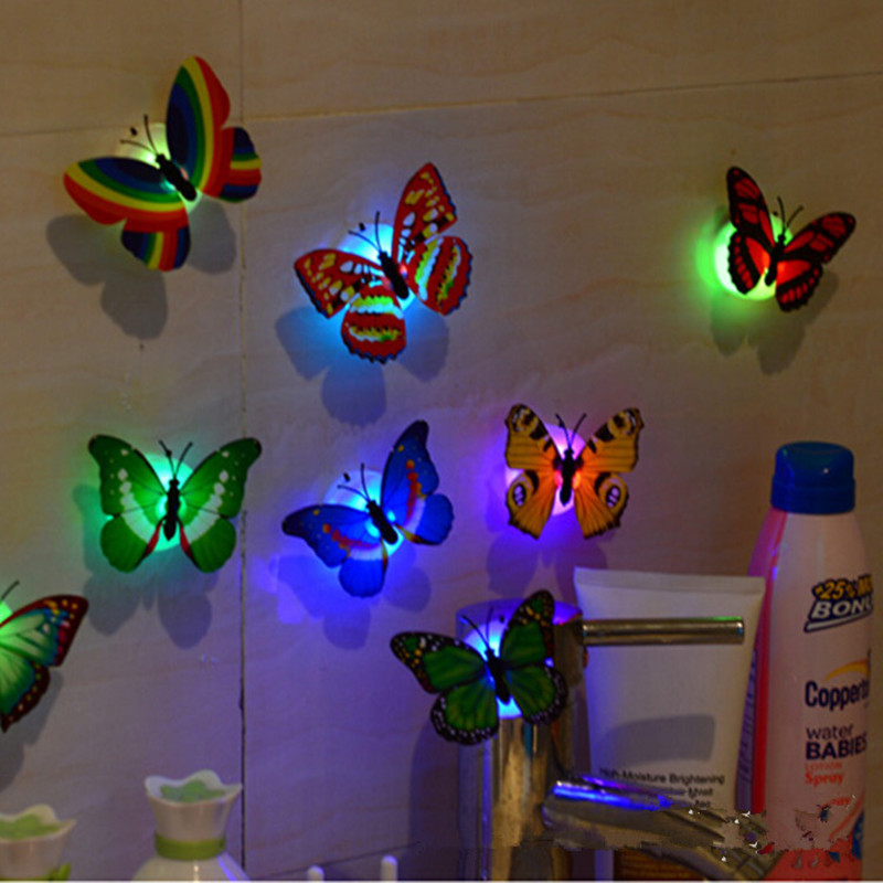 Decorative Wall Night Lights : Lovely Creative Color Changing ABS Butterfly LED Night Lights Lamp Beautiful Home Decorative ...