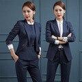 Plus Size 4XL Projeto Uniforme Pantsuits Formal Profissional Com Calças Define Blazers Jaquetas E Calças Senhoras Escritório Desgaste do Trabalho