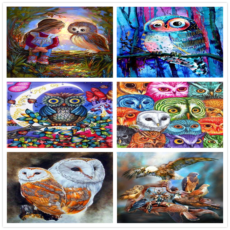DIY Diamond Painting Animal Owls Cross Stitch Mosaic diamond embroidery Needlework Full Round Rhinestone Home decor Unique gift