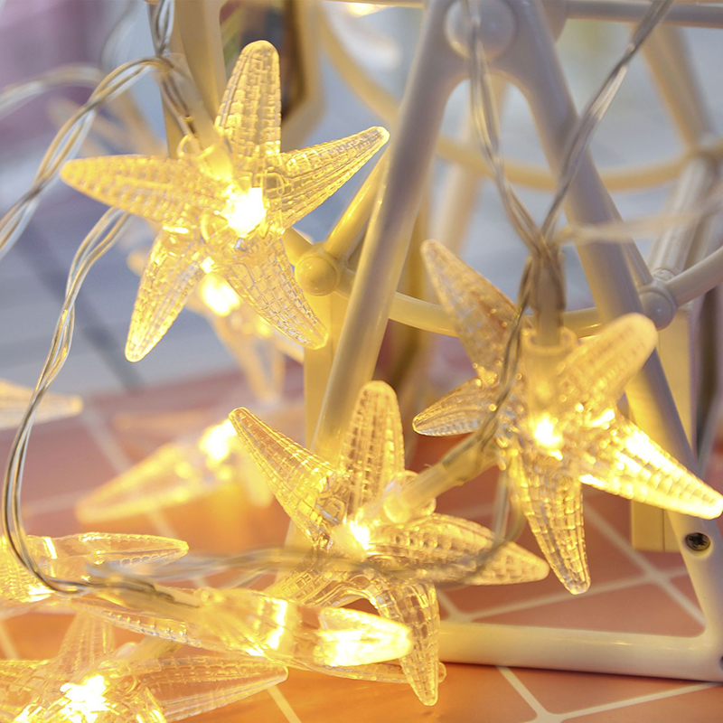 1.5m/3m/4.5m Starfish String Garland Lights Christmas Decoration Fairy Curtain Light Xmas New Year Wedding Decor Lighting