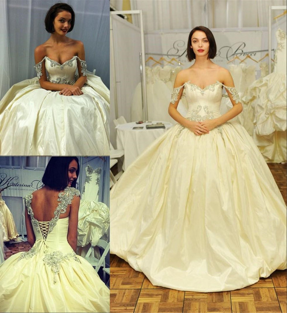 Romantic Off Shoulder Wedding Dresses 2016 Ball Gown Crystal Beaded ...