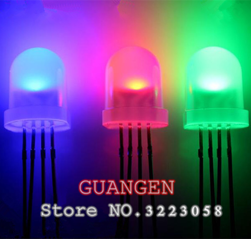 lot multicolore 4pin 5mm rgb led diode lampe tricolore paquet rond anode commune rgbled LED 5 mm diode /électroluminescente 100pcs