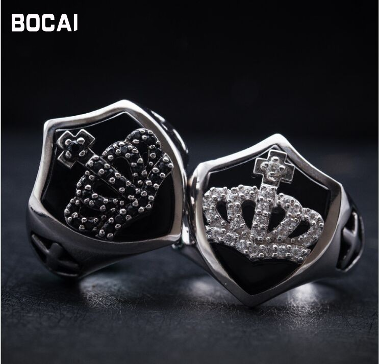 Ретро 925 серебро Корона щит черное кольцо Daily Wild мужской черный в стиле панк