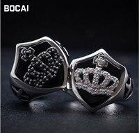 Retro 925 sterling silver crown shield negro diario del anillo macho montés negro punk style
