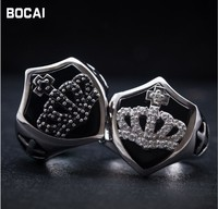 Retro 925 sterling silver crown shield black ring daily wild male black punk style