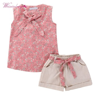 Kids Girl Clothes Suits Country Style Cotton Four Patterns Short +Pant or dress 2PCS Girls Clothing conjuntos casuales para niñas