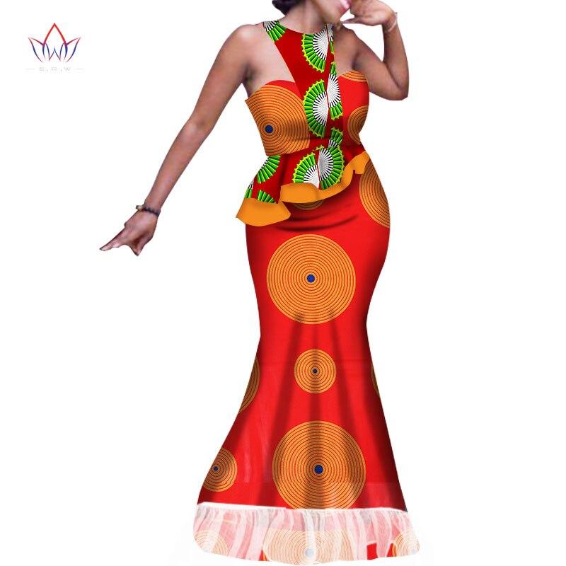 2019 nouvelles robes africaines pour femmes Dashiki cire imprimer Batik robe Sexy pour Femal Patchwork mousseline de soie avec des tissus de coton WY1660