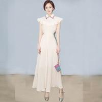 Off white long dress no sleeve ruffle butterfly sleeve notched dress women high waist summer 2018 new maxi dress ladies dresses