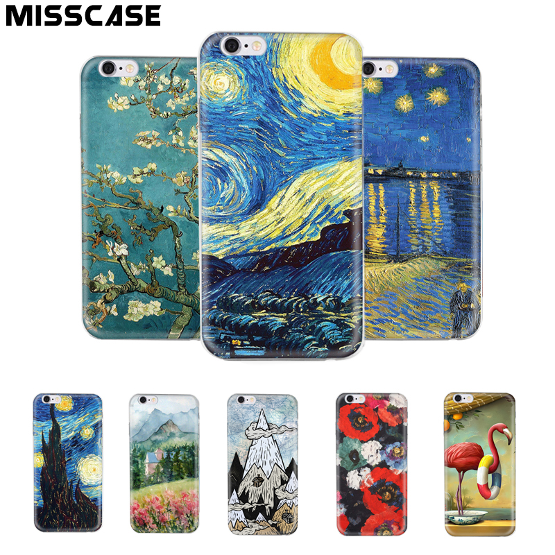 MISSCASE Phone Case for font b iphone b font 7 Plus Soft Silicone Van Gogh Star