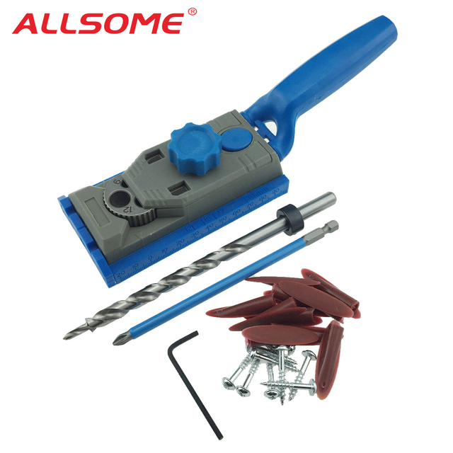 ALLSOME Pocket Hole Jig Kit Set Woodworking 9.5mm Drill Guide Sleeve For Kreg Pilot Wood Drilling Hole Wood Dowelling Jig HT1385
