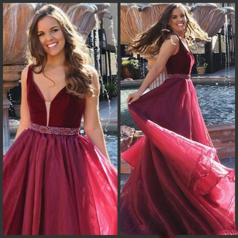 Simple Burgundy Prom Dresses V Neck Beads Sashes Cheap Women Cocktail Party Gowns Floor Length Organza Formal Evening Dresses