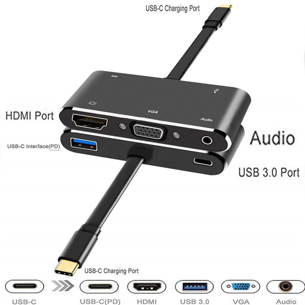 USB-C hdmi adaptador vga usb c hub para usb3.0 usbc carga 3.5mm aux jack cabo multiport conversor para macbook pro dell huawei p20