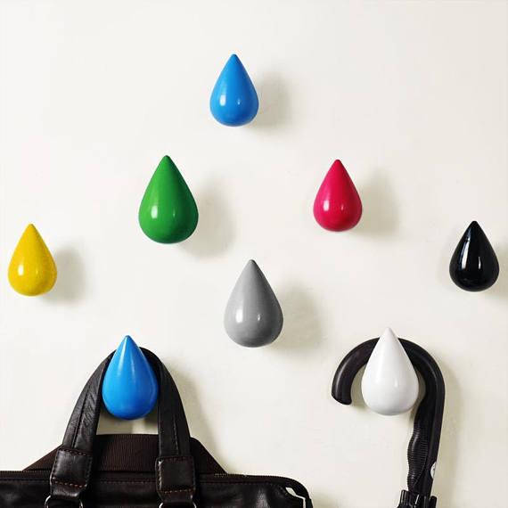 Raindrop Wall Hook Solid Wood Hook Decorative Wall Hanger White Black Blue Green Red Yellow Grey Colorful Coat Hook Hanger in Cabinet Pulls from Home Improvement