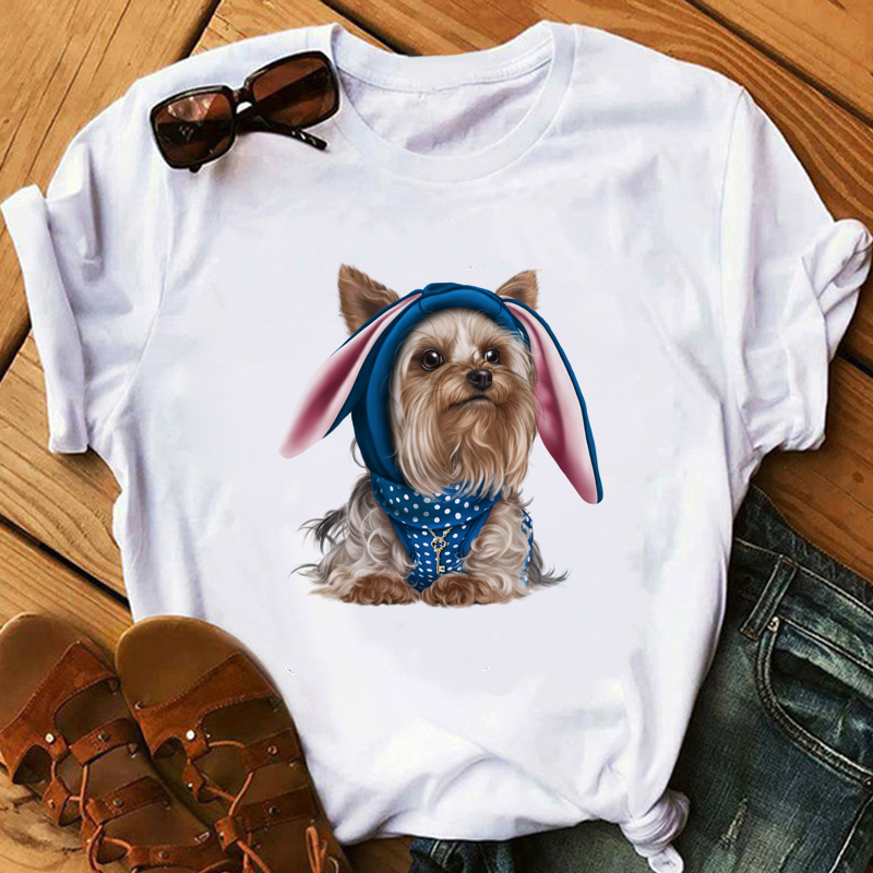 Women Summer Tops Lovely Angel Youkshire Print Girls Tee Shirt Animal T shirt Cute Little Yorkshire Terrier Dog T Shirt in T Shirts from Women 39 s Clothing