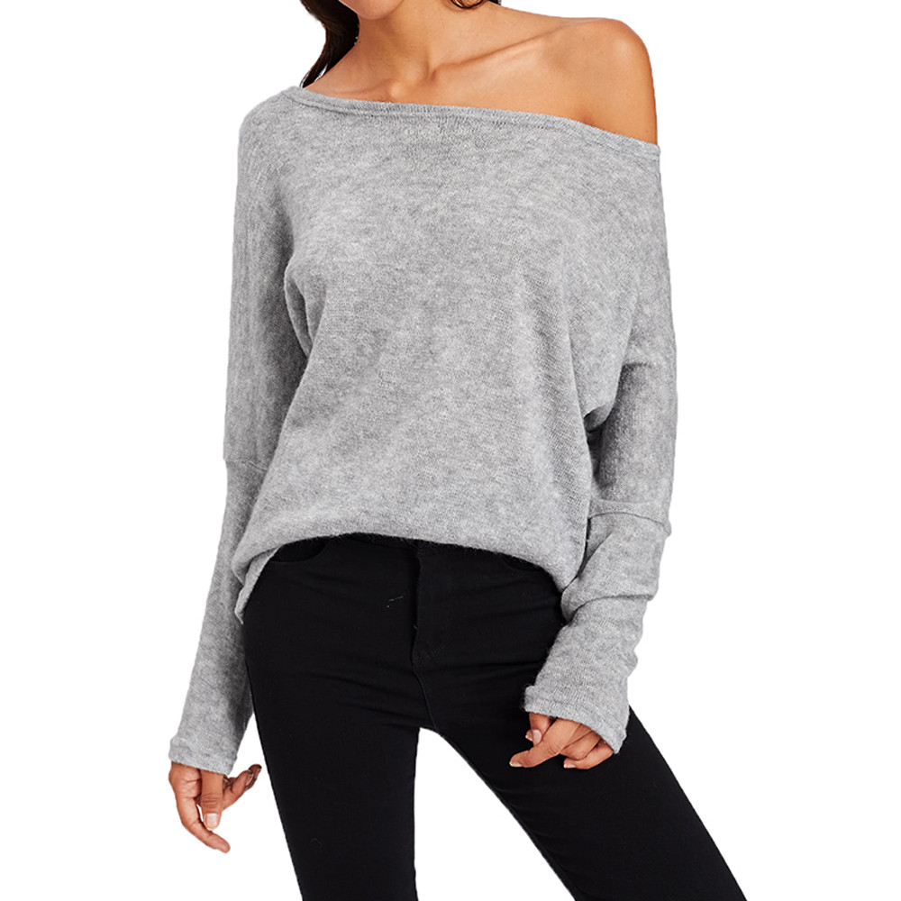 Women Long Sleeve Knitwear Jumper top Long Coat Jacket Casual Knit Pullover loose slash neck bat sleeve sweater ladies F80