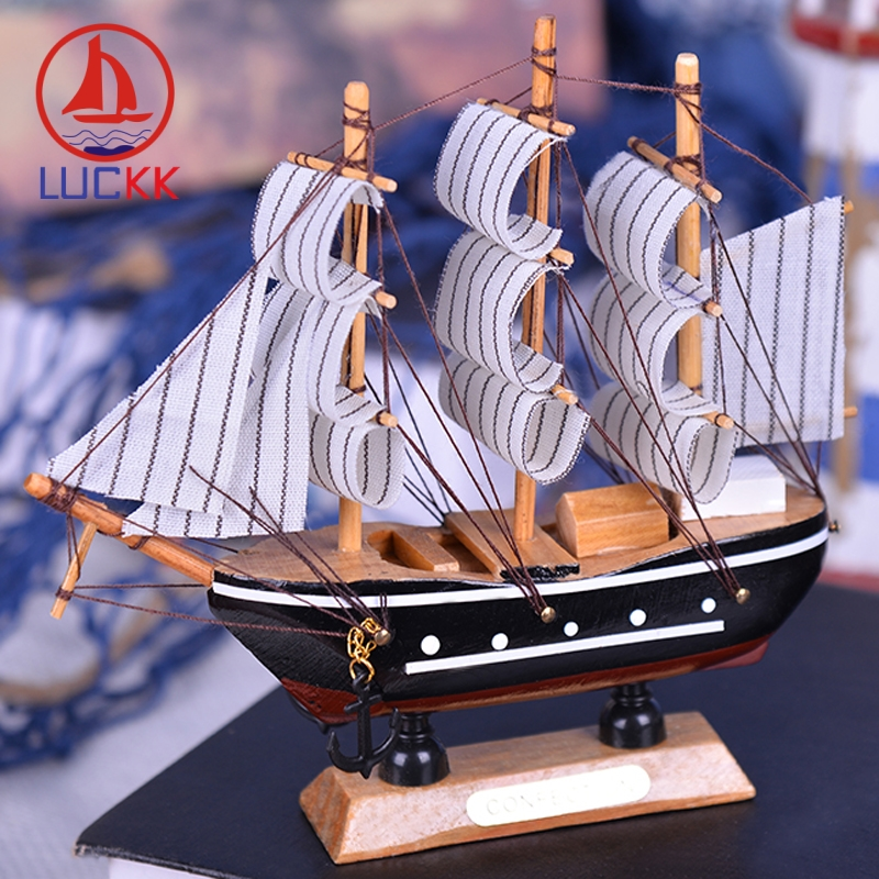 LUCKK 16CM Handmade Wooden Model Ship Black Home Interior Decoration Accessories Loft Wood Crafts Sea Scandinavian Room Figurine in Figurines Miniatures from Home Garden