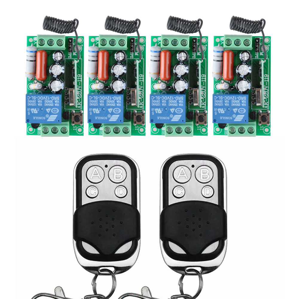4 Receiver + 2 Transmitter AC 220V 10A Wireless Remote Control Wireless Light Switch System In 433.92Mhz receiver