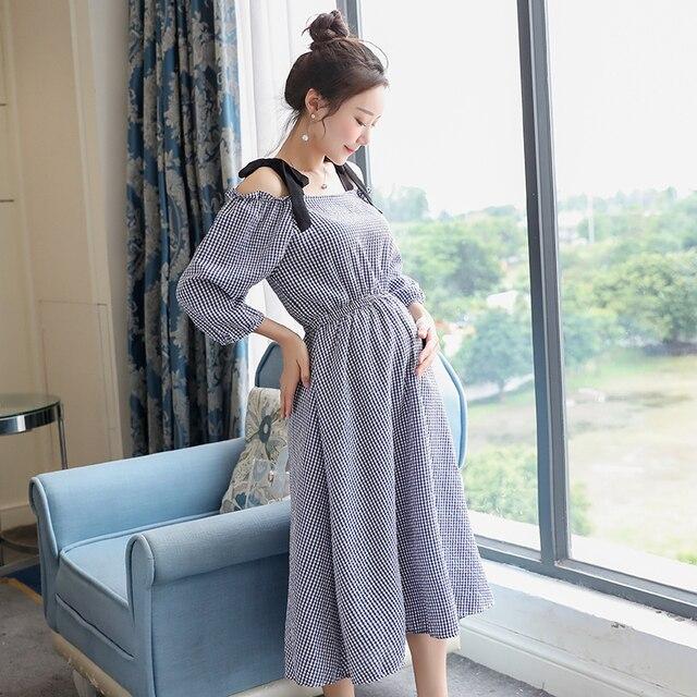 0f1516a00 Cotton Linen Maternity Dress Pregnancy Clothes for Pregnant Women Lady Open  Shoulder Vestidos Summer Party Evening Dress C659