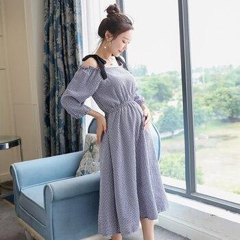 bd613913b De lino de algodón vestido de maternidad embarazo ropa para mujeres  embarazadas dama abierto hombro Vestidos de verano vestido de noche de  fiesta C659