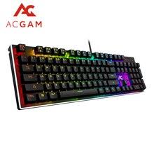 ACGAM RGB de 104 Teclas de juego teclado Mecánico Español/Francés soporte Multilingüe con Retroiluminación Anti-Ghosting de Teclado