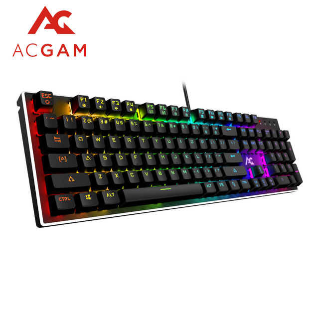 ACGAM 104 Keys gaming RGB Mechanical keyboard Spanish /Russian/French/English Multilingual support with Backlight Anti-Ghosting