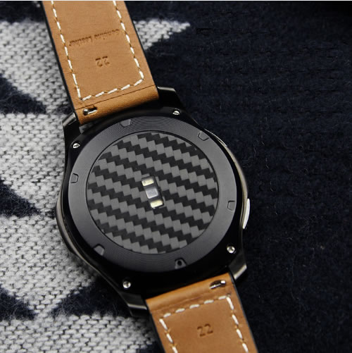 2PCS Carbon Fiber Back Screen Protector Film Cover For Samsung Gear S3 22mm Watch Nice With Your Watch Band For Galaxy Watch 46 opk punk cross bracelet for men length 16 5 21 cm mesh strap band stainless steel black gold color male wrap bracelets gh878