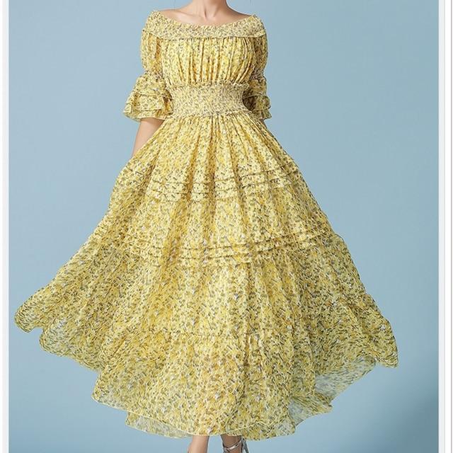 Beach Fl Chiffon Yellow Dresses For Women Summer National Mexican Dress S Woman Clothing