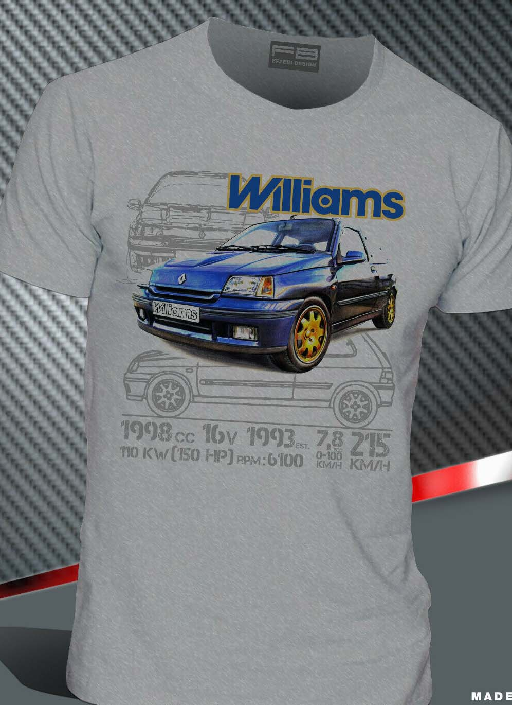Image 2 - T Shirt Renault Clio Williams 2.0 16V Maxi Rally Legend Montecarlo 2019 Hot Sale Men'Short Sleeve O Neck Summer Print T Shirt-in T-Shirts from Men's Clothing