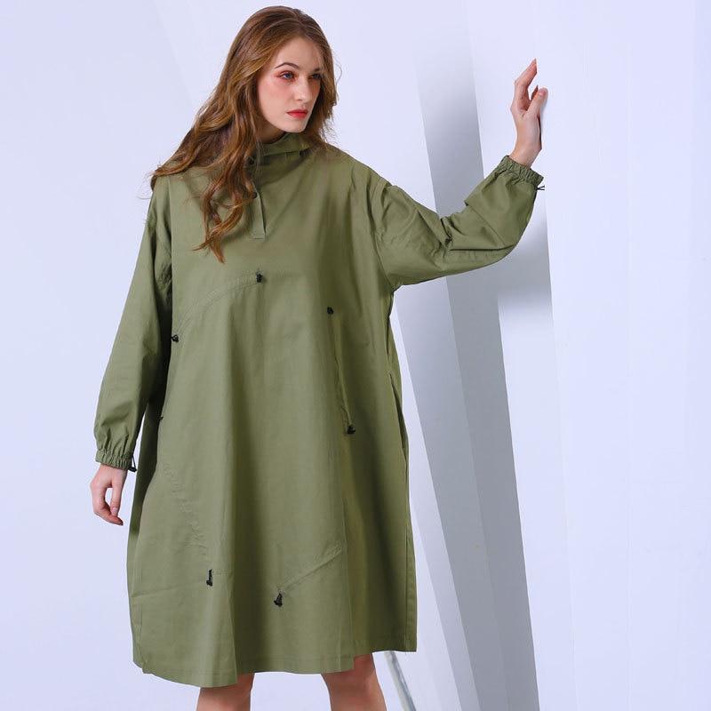 Nouveau green Pour De Superaen Vêtement Femmes L'europe Femme Khaki Taille Nouvelle Femelle Mode 2019 Robe Pluz Solide Capuche Printemps Colorée b7fY6gvy