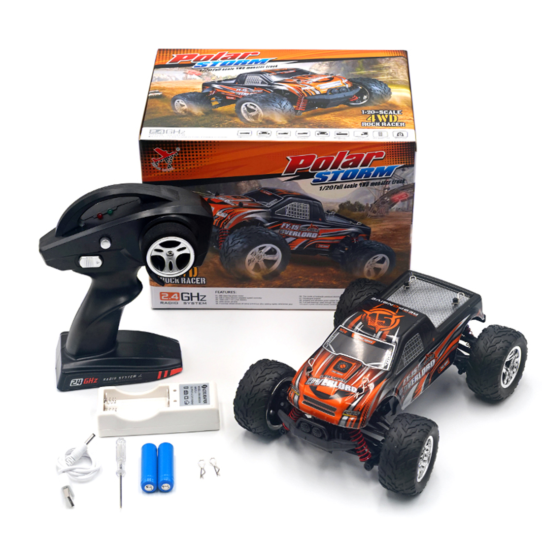 Rowsfire FY 15 1:20 2.4G 4WD High-speed Remote Control Off-road Vehicle RC Sports Car Toys for Kids Assembly Toy Black+Orange