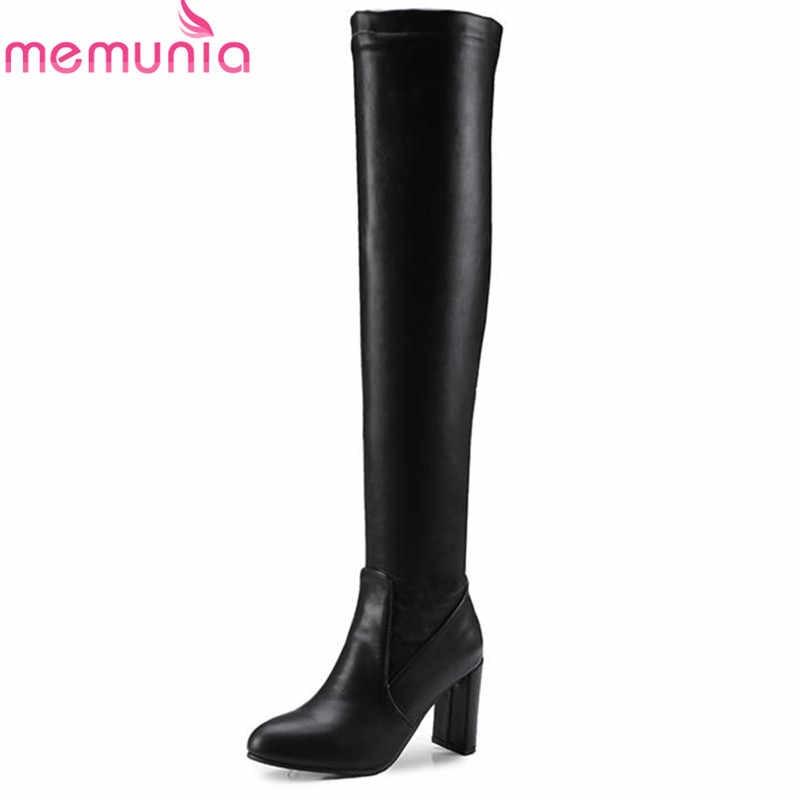 MEMUNIA/2020 г. Большие размеры 33-46, осенне-зимние короткие плюшевые сапоги до бедра с круглым носком элегантная женская обувь на высоком каблуке без застежки черного цвета